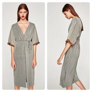 Zara Serbia fringe sleeve hem midi grey dress